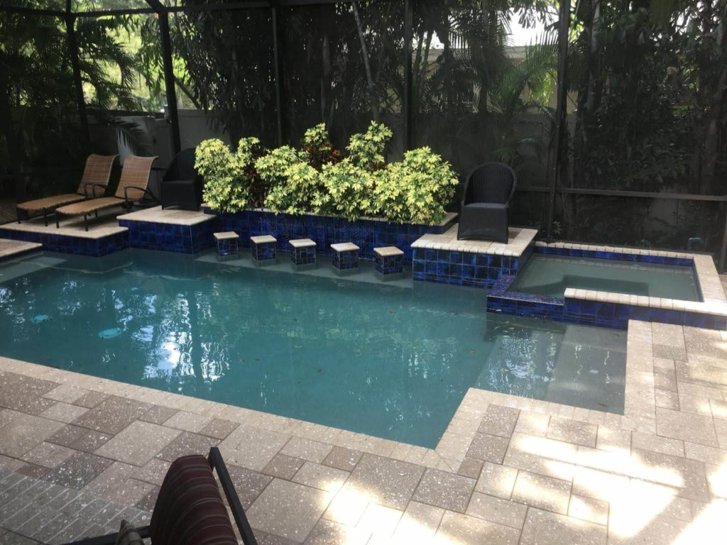 concrete pavers arround pool