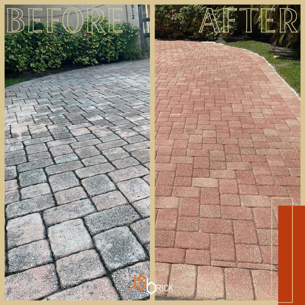 pavers before and after being sealed