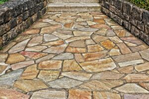 flagstone pavers in patio