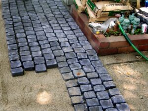 Pavers on top of sand in a quick installation.